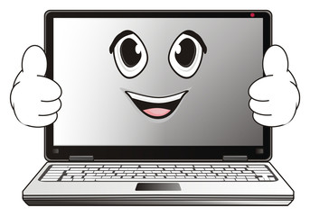 Computer, laptop, cartoon, illustration, technology, technology, business, internet, office, Network, touch pad, system, face, emotion, gesture, class