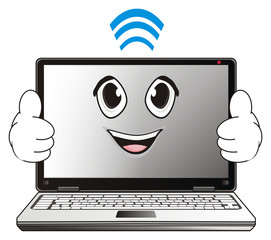 Computer, laptop, cartoon, illustration, technology, technology, business, internet, office, Network, touch pad, system, face, emotion, happy, gesture, signal, wi-fi