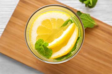 Glass of fresh lemonade, close up