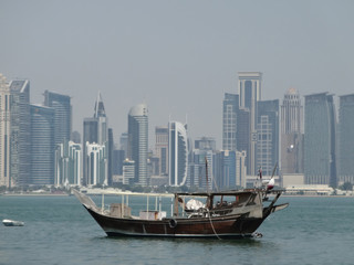 A dhow moored in doha harbour, qatar