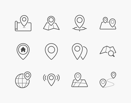 Simple Set of Location Pin Thin Line Icons. Editable Stroke. 64x64 Pixel Perfect.