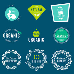 Vector Set of green labels and badges with leaves for organic, natural, bio and eco friendly products, isolated on dark background. Cruelty free, not tested on animals.