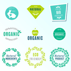 Vector Set of green labels and badges with leaves for organic, natural, bio and eco friendly products, isolated on white background. Cruelty free, not tested on animals.