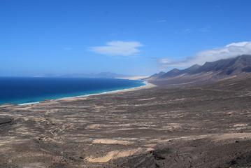 Zatoczka, plaża, góry, Fuerteventura, Wyspy Kanaryjskie, Hiszpania