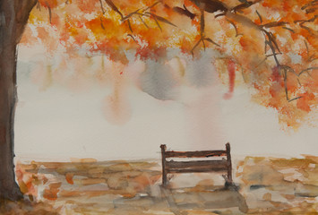 Alone bench under autumn tree with morning mist , autumn season, watercolor hand painted in impressionism style, can be used for postcard