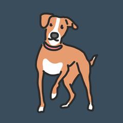 Cute Dog Cartoon. hand drawn. line drawing. vector illustration.