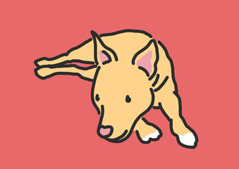Cute Dog Cartoon. hand drawn. line drawing. vector illustration.