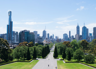 Melbourne's city skyline from the viewing terrace of the Shrine of Remembrance