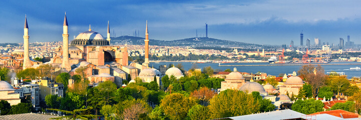 Fotorolgordijn Turkije Hagia Sophia museum (Ayasofya Muzesi) in Istanbul, Turkey