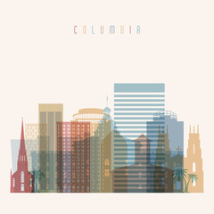 Columbia state South Carolina skyline detailed silhouette. Transparent style. Trendy vector illustration.