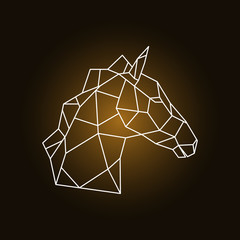 Horse head side view. Geometric style. Vector illustration.