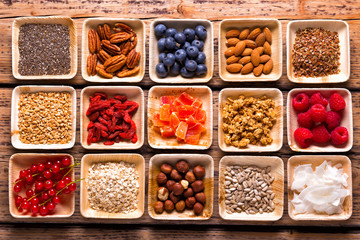 Superfoods  -  Healthy  ingredients for muesli