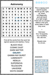 Astronomy themed zigzag word search puzzle (suitable both for kids and adults). Answer included.