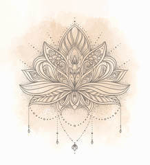 Vector ornamental Lotus flower, ethnic art, patterned Indian paisley. Hand drawn illustration. Invitation element.