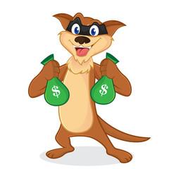 Weasel cartoon mascot as a thieft carrying money bags