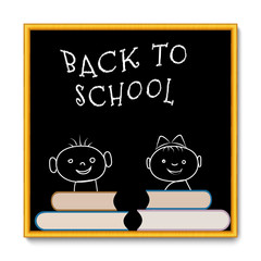 School blackboard  back to school with faces and books