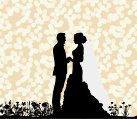 Vector silhouette of the bride and groom, love, wedding card