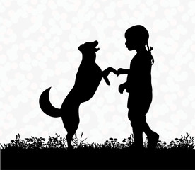 silhouette of a child playing with a dog, friendship