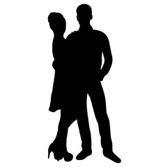 Vector, isolated, silhouette of a guy and a girl, love