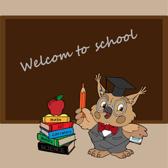 a stack of books wise owl blackboard welcome to school