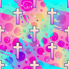 Vanilla cross.Spooky seamless pattern. Halloween wrapping paper background in neon pastel colors. Cute gothic style.