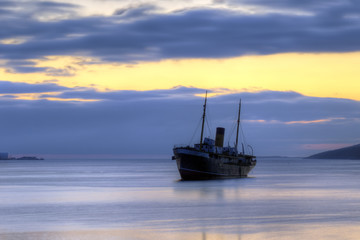 Shipwreck at sunrise, Kyle, Harbour Grace, Newfoundland and Labrador, Canada.
