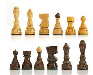 Chess pieces on a white background