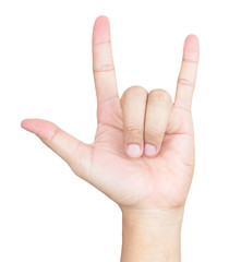 Love hand sign, I Love You language hand on white background.
