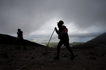Pilgrims ascend Croagh Patrick holy mountain during an annual Catholic pilgrimage near Lecanvey