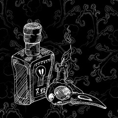 Bottle of poison, the bird's skull and a burning candle. The sketch