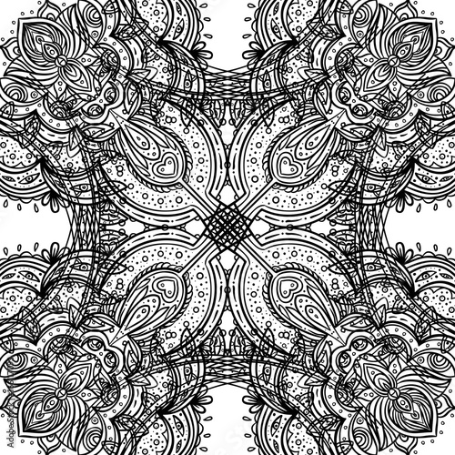 Beautiful India Inspired Bohemian Floral Seamless Patter Vector
