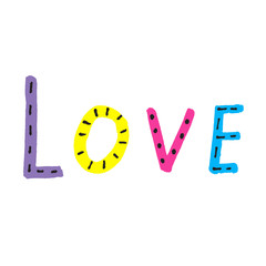 Word LOVE from colorful letters