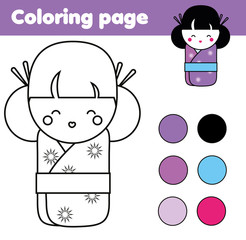 Coloring page with cute japanese kokeshi doll. Children educational game, drawing activity