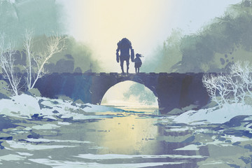 robot and little girl standing on bridge in winter, digital art style, illustration painting