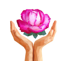 polygonal rose full-color in cupped hands