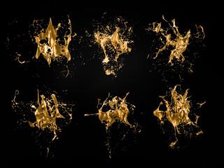 A splash of gold. 3d illustration, 3d rendering. Fototapete