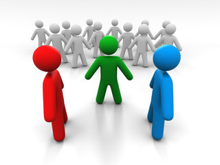 Concept Of Discussion Of Two Persons In The Presence Of A Third Person And A Crowd Of People