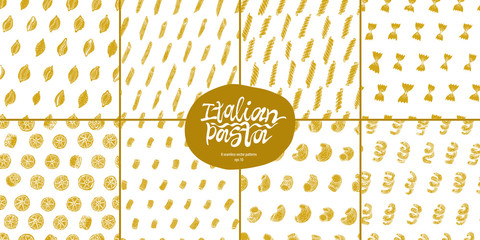 Different kinds of Italian pasta seamles vector pattern set.