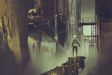 Barrage scene of the engineer standing on a platform looking at futuristic dam, digital art style, illustration painting