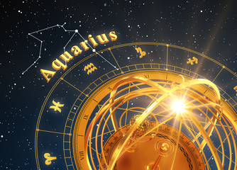 Zodiac Sign Aquarius And Armillary Sphere On Blue Background