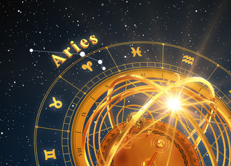 Zodiac Sign Aries And Armillary Sphere On Blue Background