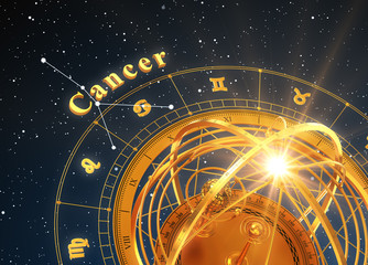 Zodiac Sign Cancer And Armillary Sphere On Blue Background