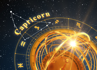 Zodiac Sign Capricorn And Armillary Sphere On Blue Background