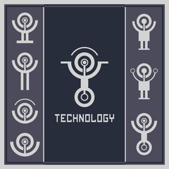 Technology card template. Technology and science logo. Futuristic emblem.
