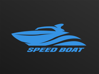 Speed boat logo on a dark background.