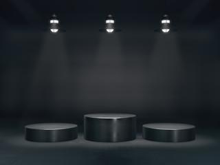 Pedestal for display,Platform for design,Blank product stand with lamp light spot .3D rendering.