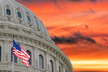 Wall Mural - Washington US Capitol on dramatic sky background