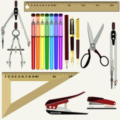 Vector flat set of school and office supplies