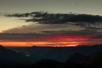 dramatic sunset in the swiss mountains