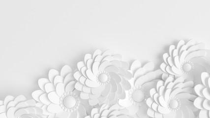 Piękny, elegancki papierowy kwiat w stylu ręcznie robiony na białej ścianie. 3d ilustracja, 3d.
